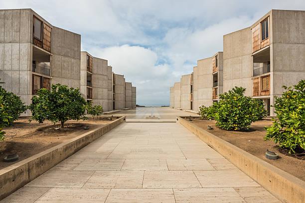 Salk Institute in San Diego with orange citrus trees stock photo