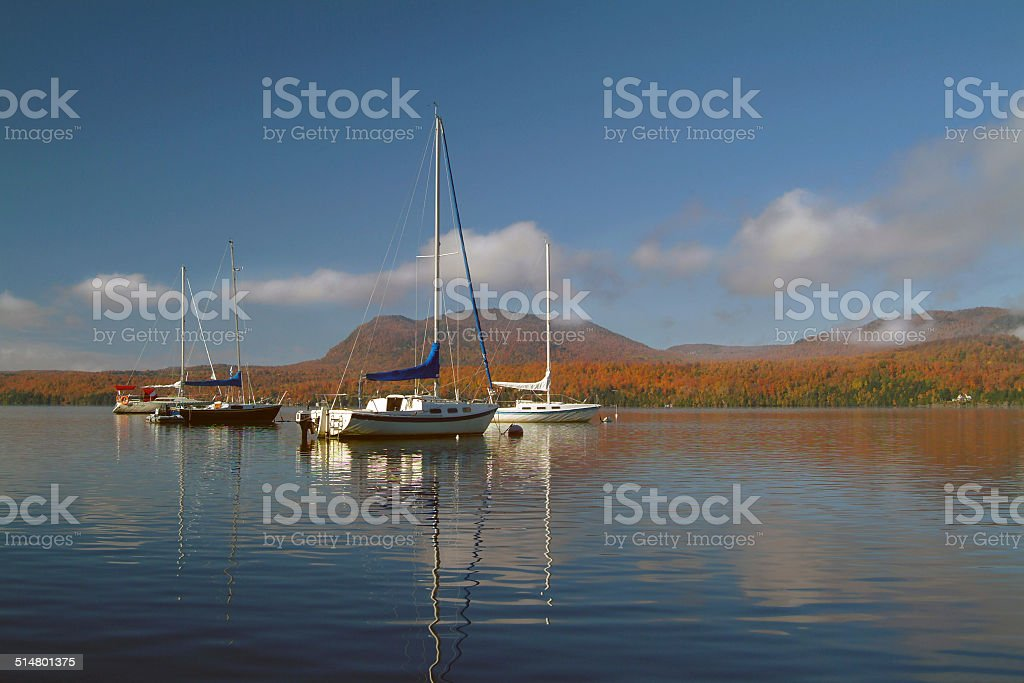 Salling boats on the lake stock photo