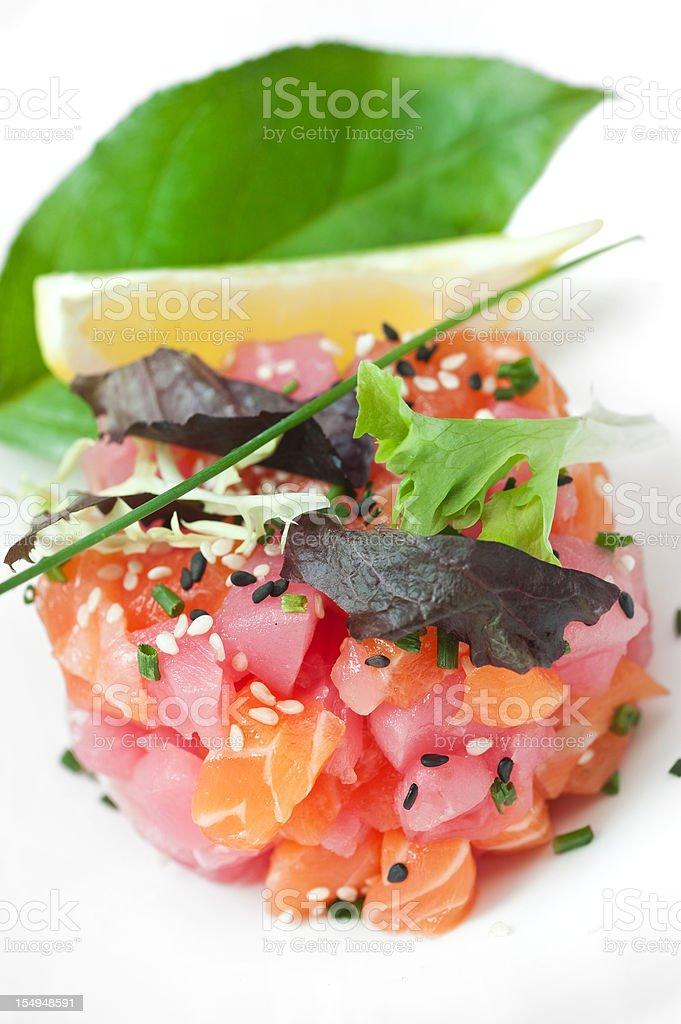 Salmon and ahi tuna ceviche royalty-free stock photo