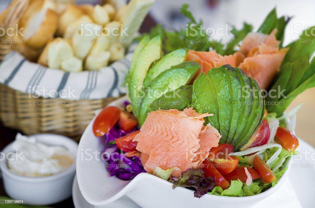 Salmon and Avacado Salad royalty-free stock photo