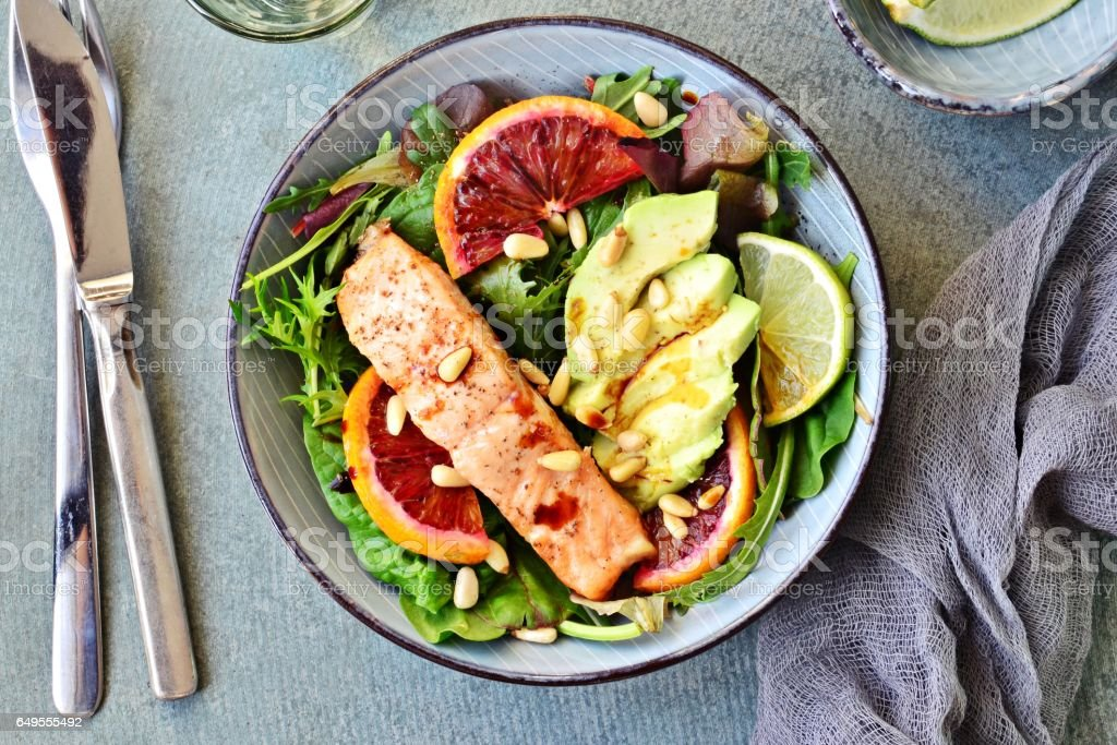 Salmon and Avocado Salad stock photo
