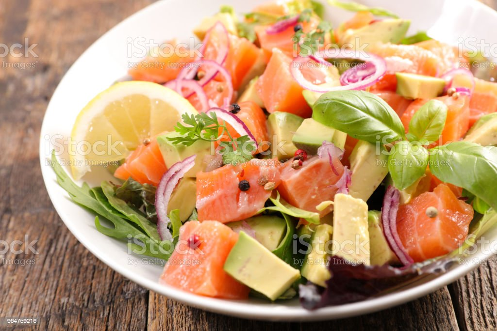 salmon and avocado salad royalty-free stock photo