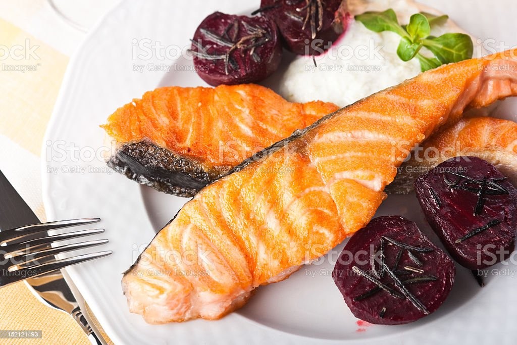 Salmon and beets with rosemary royalty-free stock photo