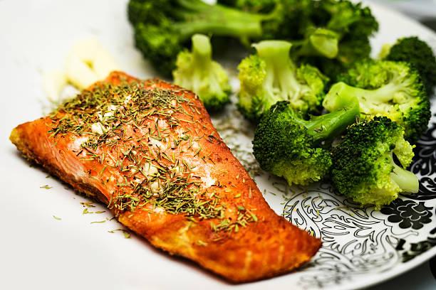 salmon and broccoli stock photo
