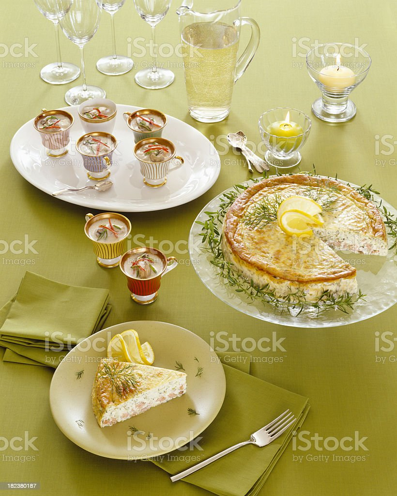 Salmon and dill quiche with Thia coconut seaffod soup royalty-free stock photo