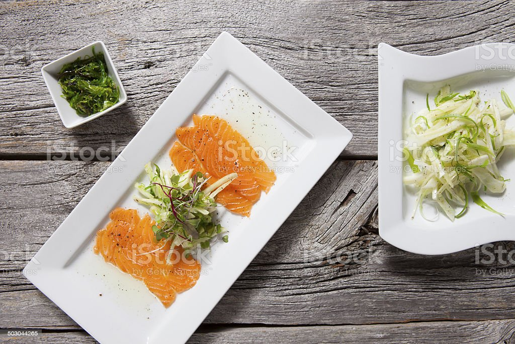 salmon and fennel-fine dining royalty-free stock photo