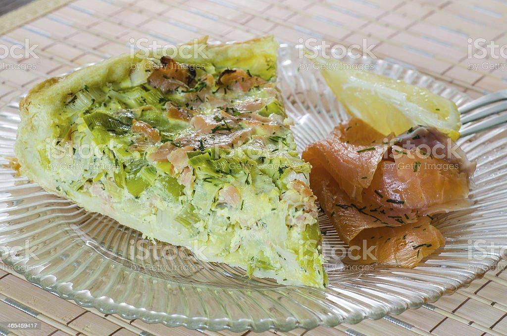 Salmon and leek quiche stock photo