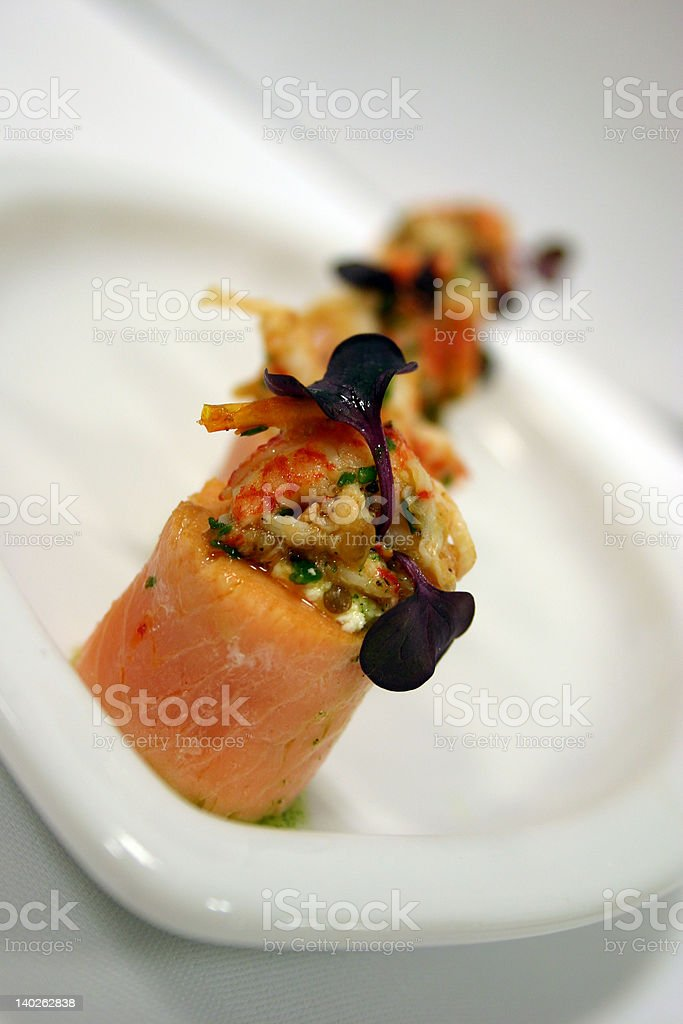 Salmon and lobster canape 2 royalty-free stock photo