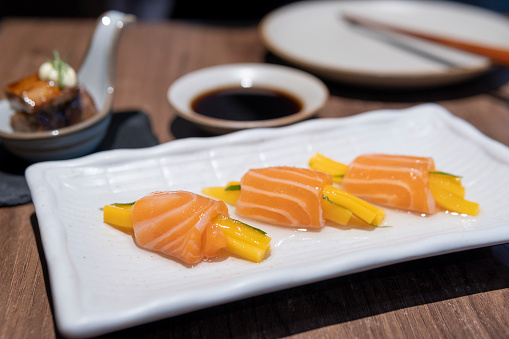 Tasty Japanese cuisine in the restaurant in Guangdong.