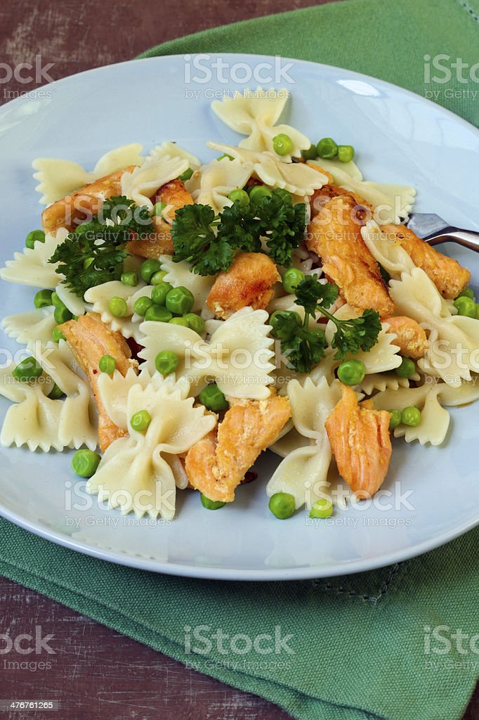 Salmon and pea pasta royalty-free stock photo