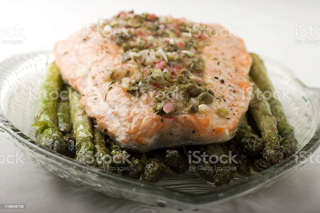 Salmon and Roasted Asparagus royalty-free stock photo