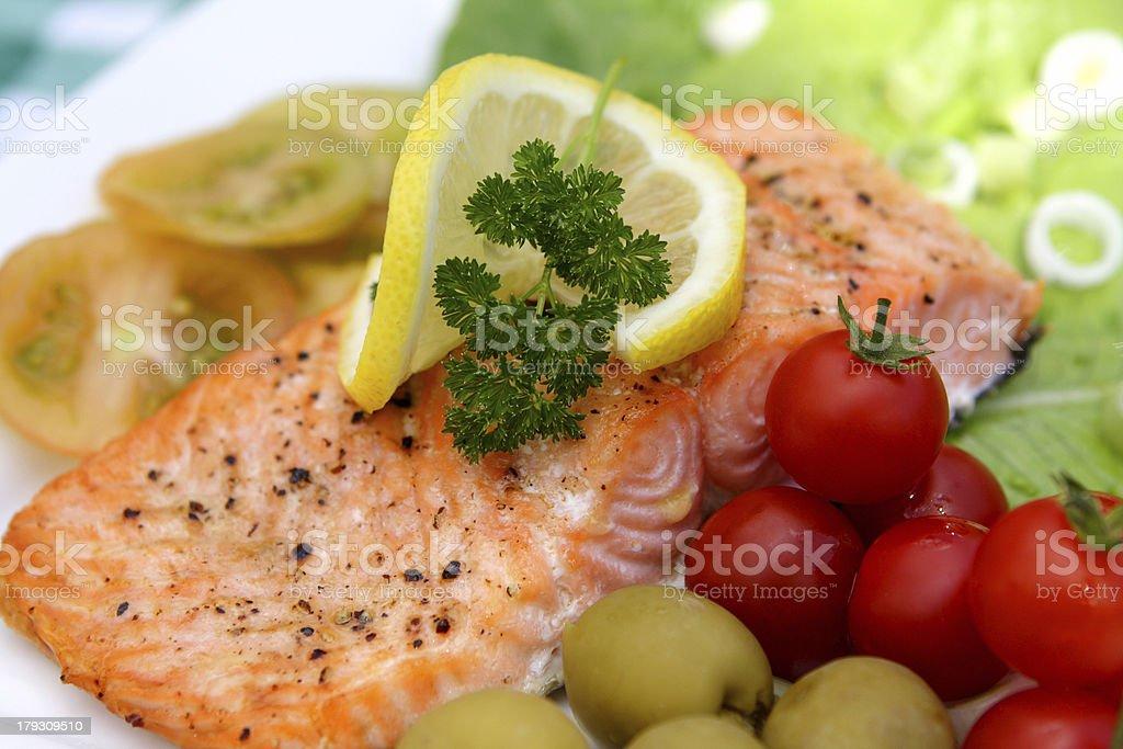 Salmon and salad royalty-free stock photo