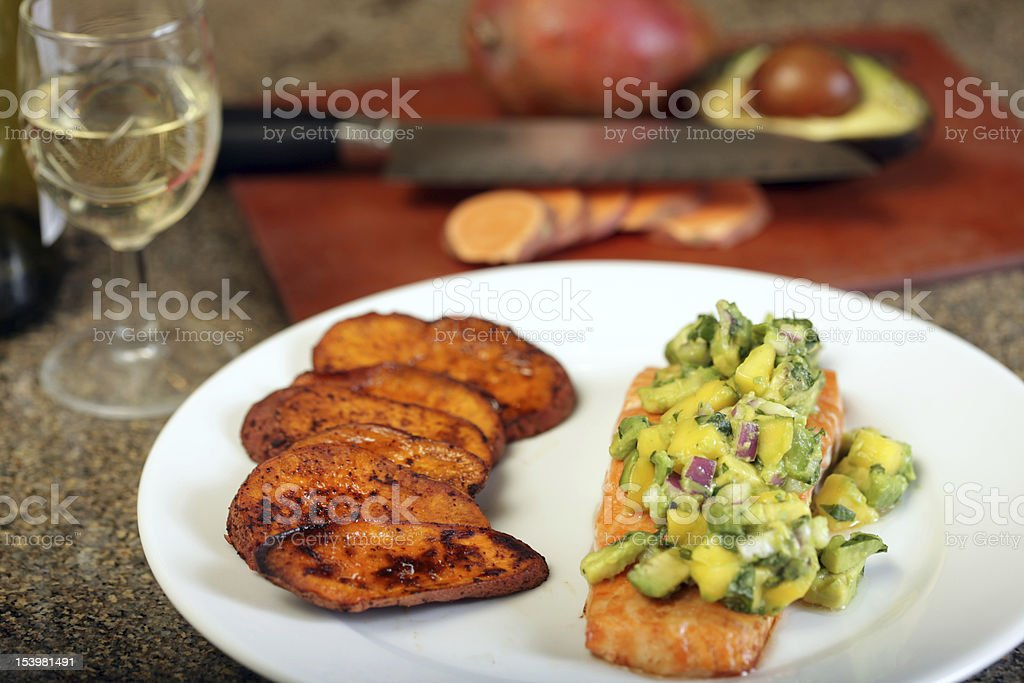 Salmon and Sweet Potatoes stock photo
