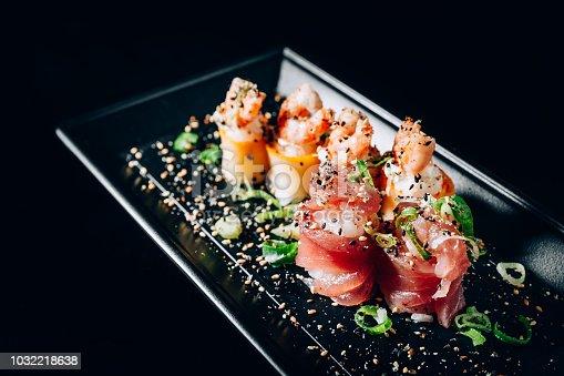 Salmon and tuna rolls