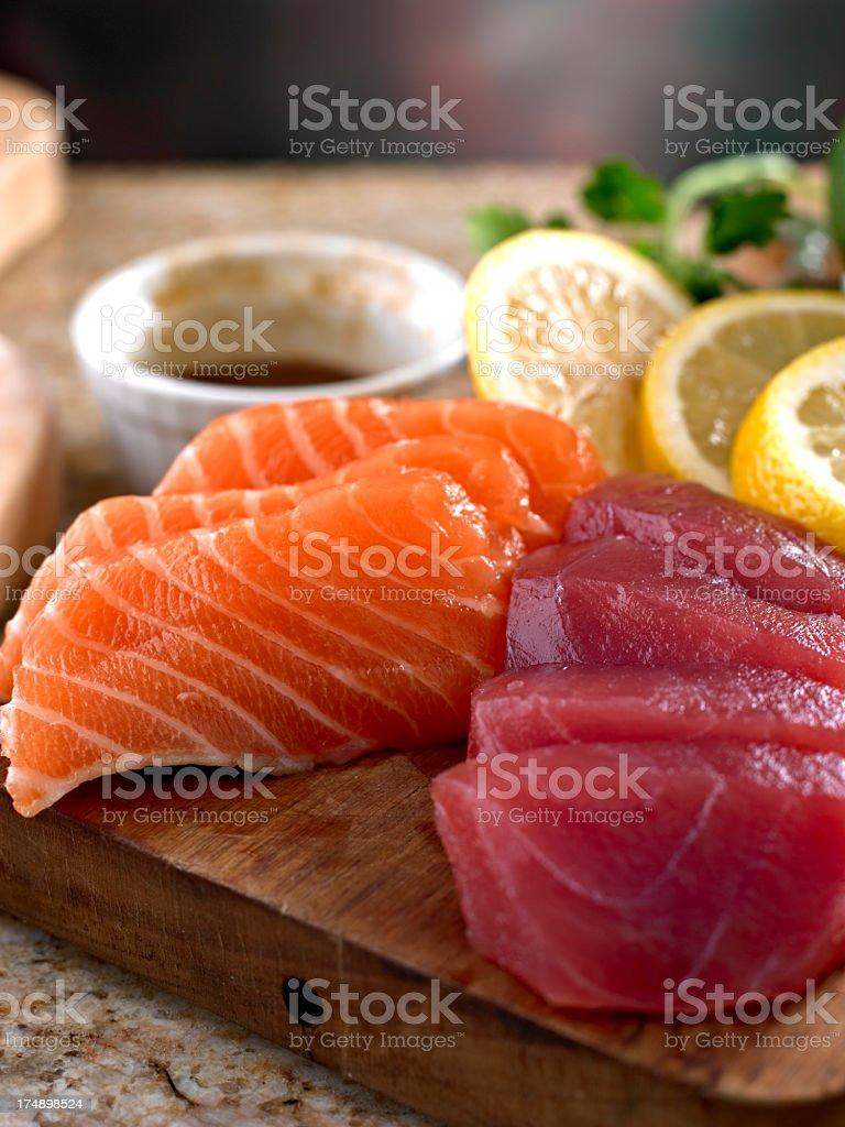 Salmon and Tuna Sashimi. stock photo