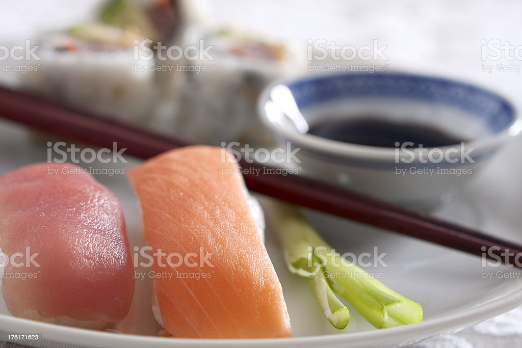 Salmon and Tuna Sushi stock photo