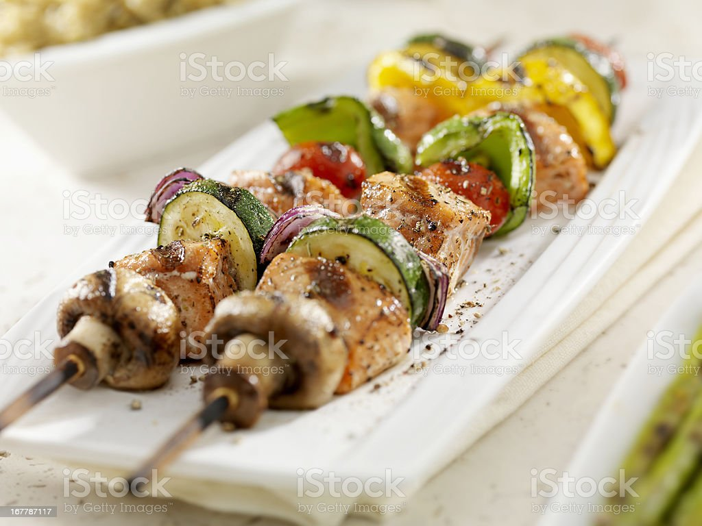 BBQ Salmon and Vegetable Kabobs royalty-free stock photo
