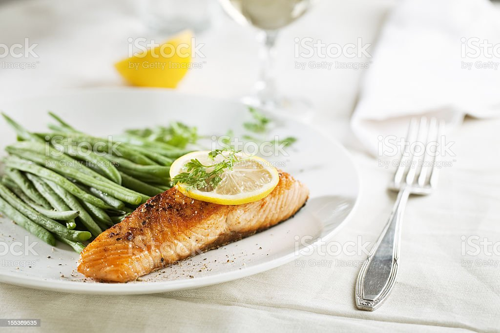 salmon and vegetables royalty-free stock photo
