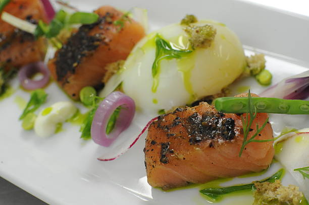 salmon appetiser with eggs - appetiser stock photos and pictures
