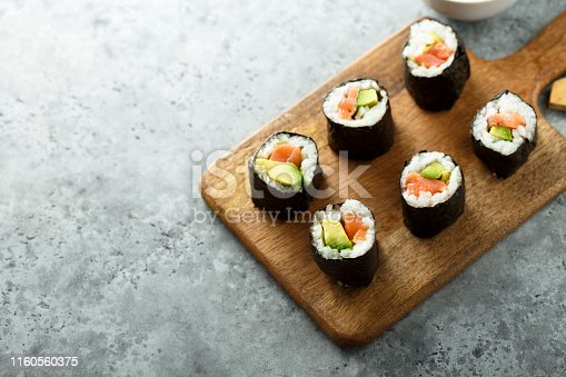 istock Salmon avocado sushi rolls 1160560375