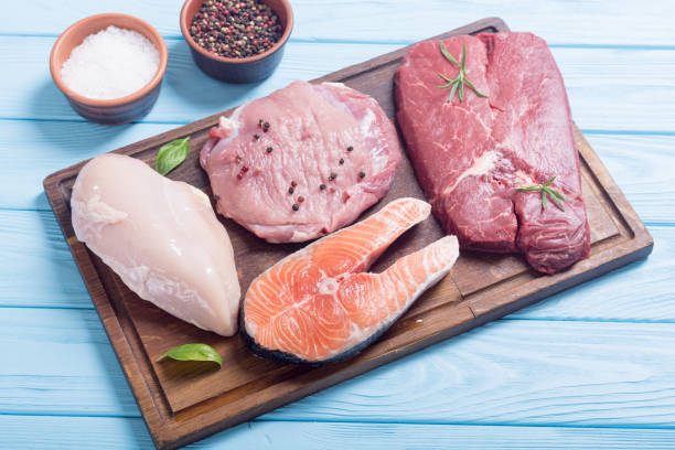 salmon , beef , pork and chicken - meat imagens e fotografias de stock