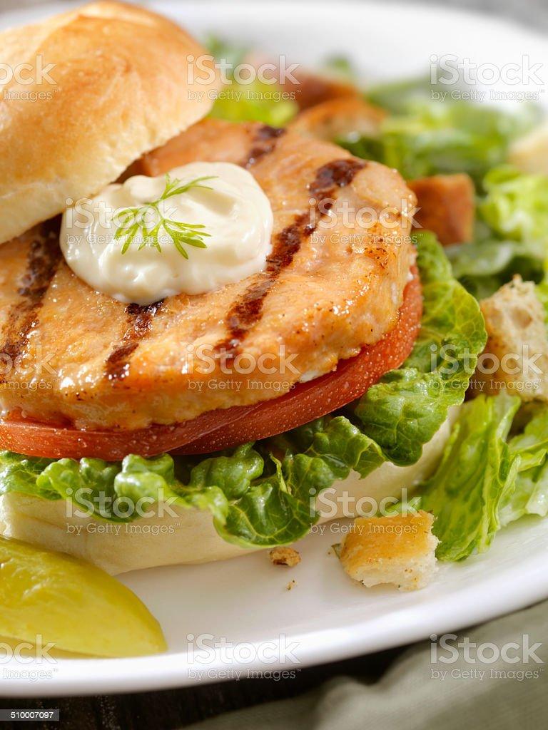 Salmon Burger stock photo