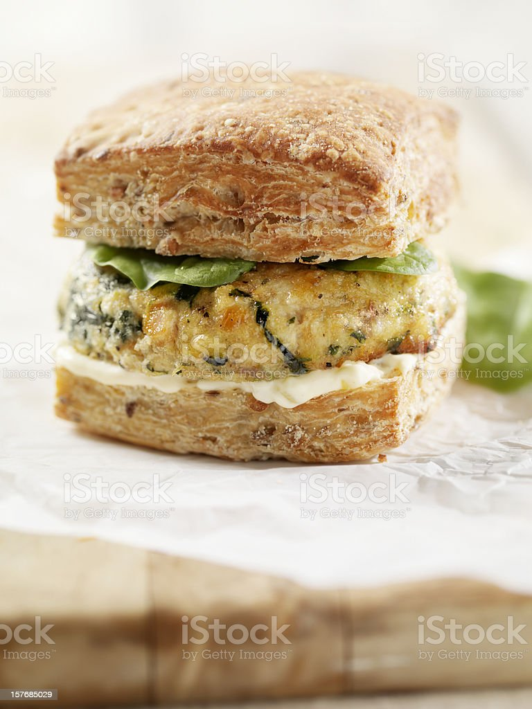 Salmon Burger with Spinach and Mayo royalty-free stock photo