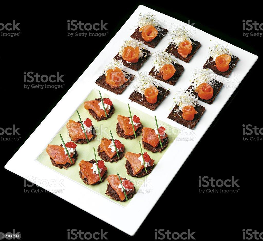 Salmon Canapes royalty-free stock photo