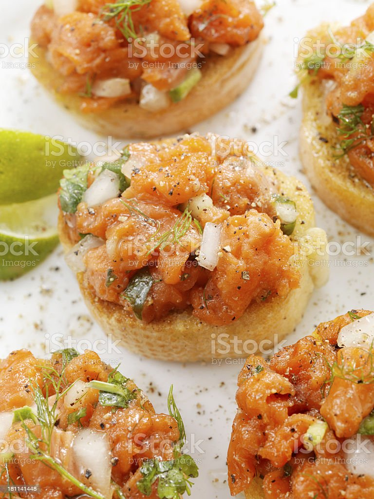 Salmon Canapes royalty-free stock photo