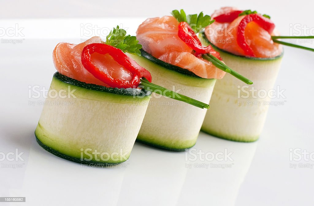 Salmon canapes roll royalty-free stock photo