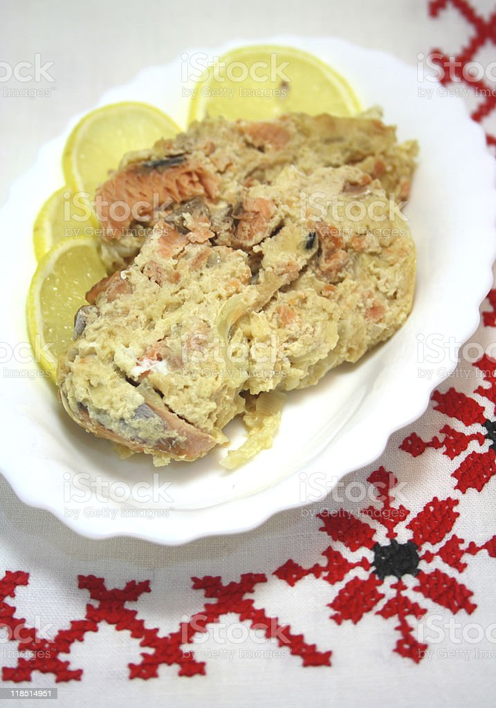 Salmon casserole on plate stock photo