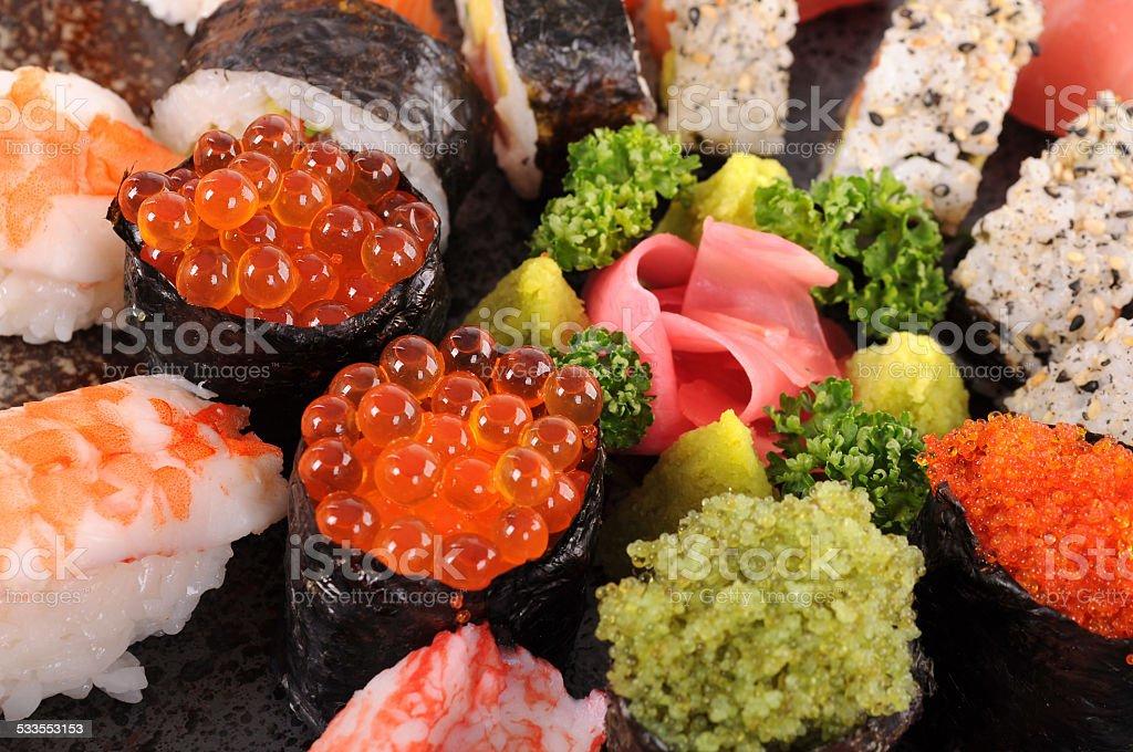 Salmon caviar sushi stock photo