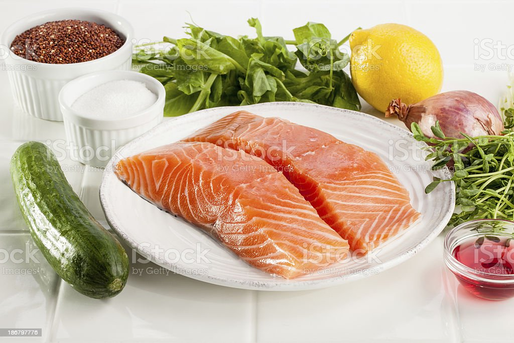 Salmon dinner ingredients royalty-free stock photo
