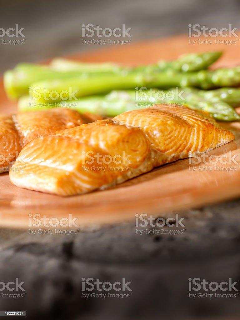 Salmon Filet with Asparagus royalty-free stock photo