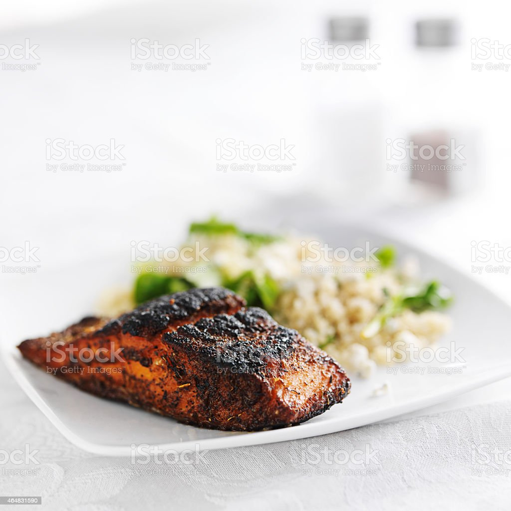 salmon filet with quinoa and arugala stock photo