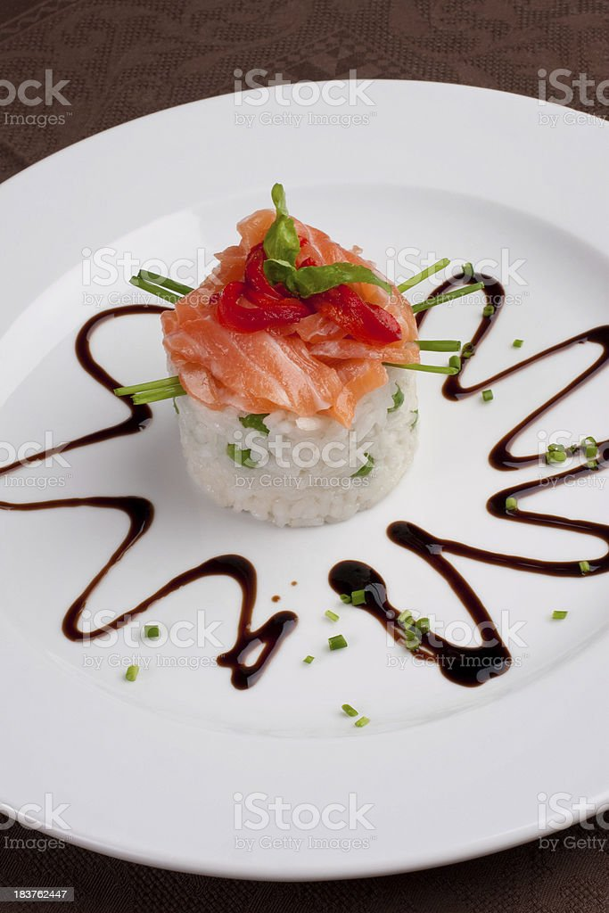Salmon filet with rice royalty-free stock photo