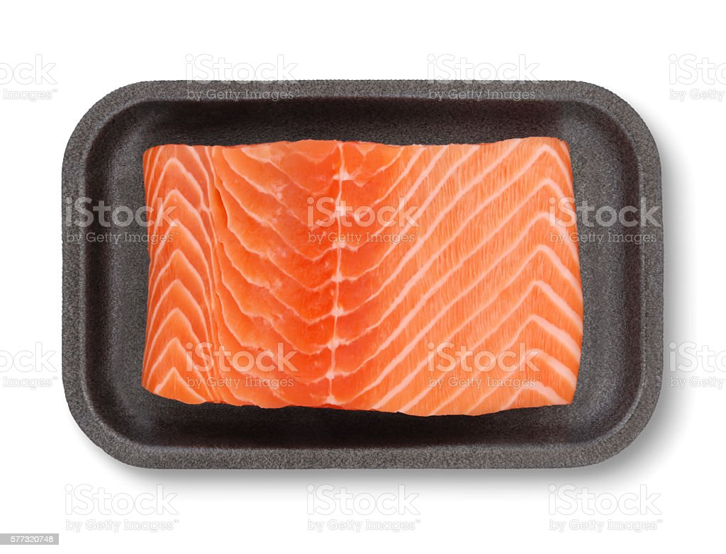 Salmon Fillet in Package (with path) stock photo