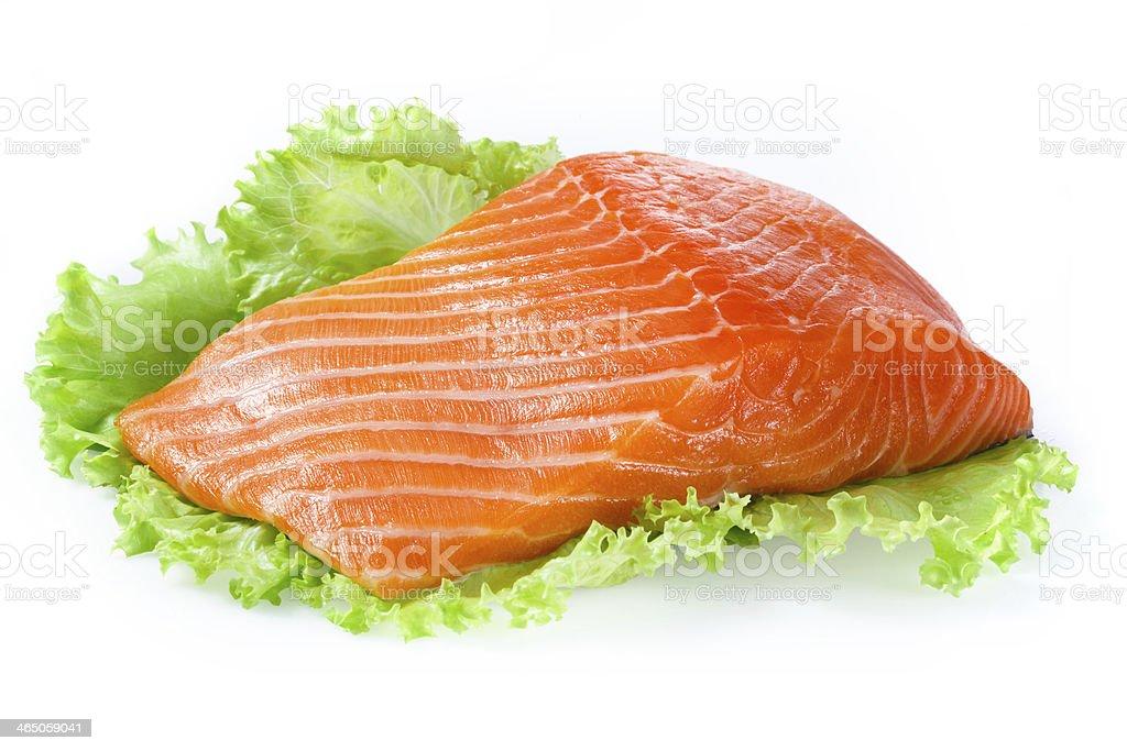 Salmon fillet isolated on white royalty-free stock photo