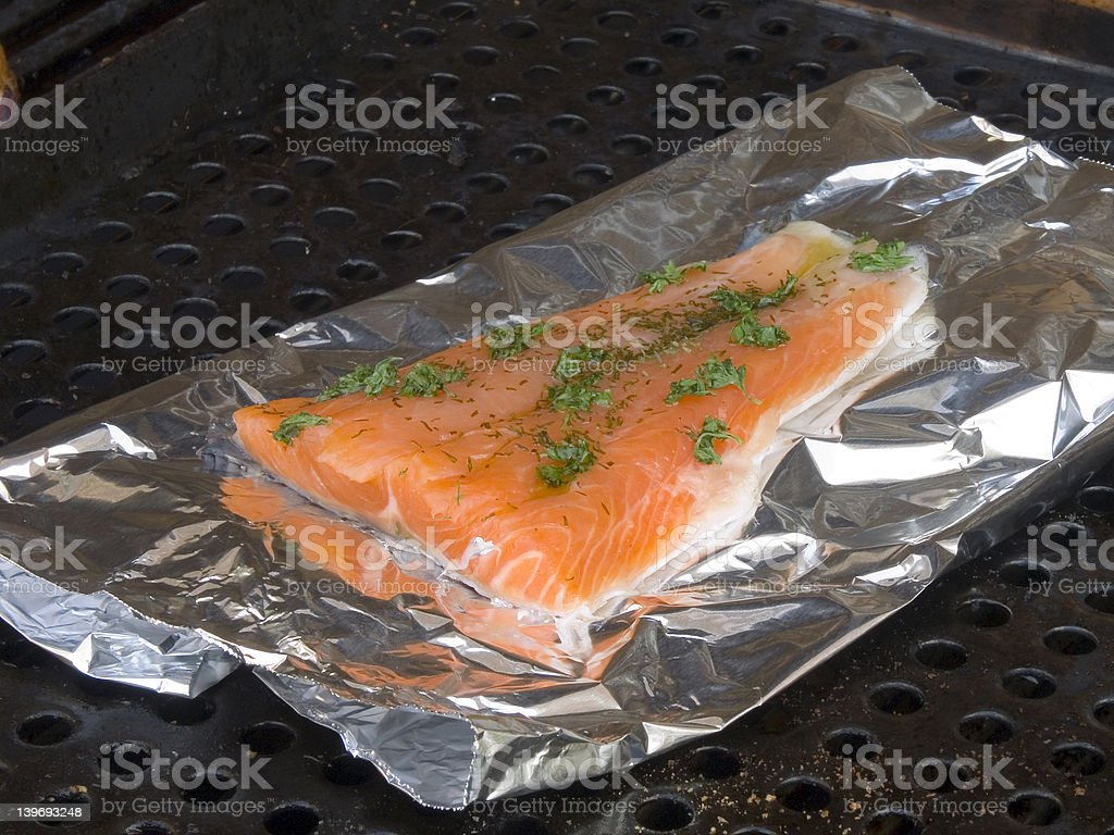 Salmon fillet on grill. royalty-free stock photo
