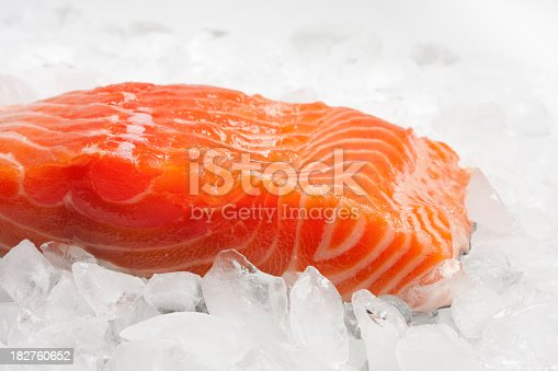 A fillet of salmon on ice and ready for the pan, grill, or broiler.