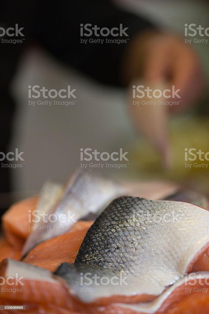 Salmon fillet skin on stock photo