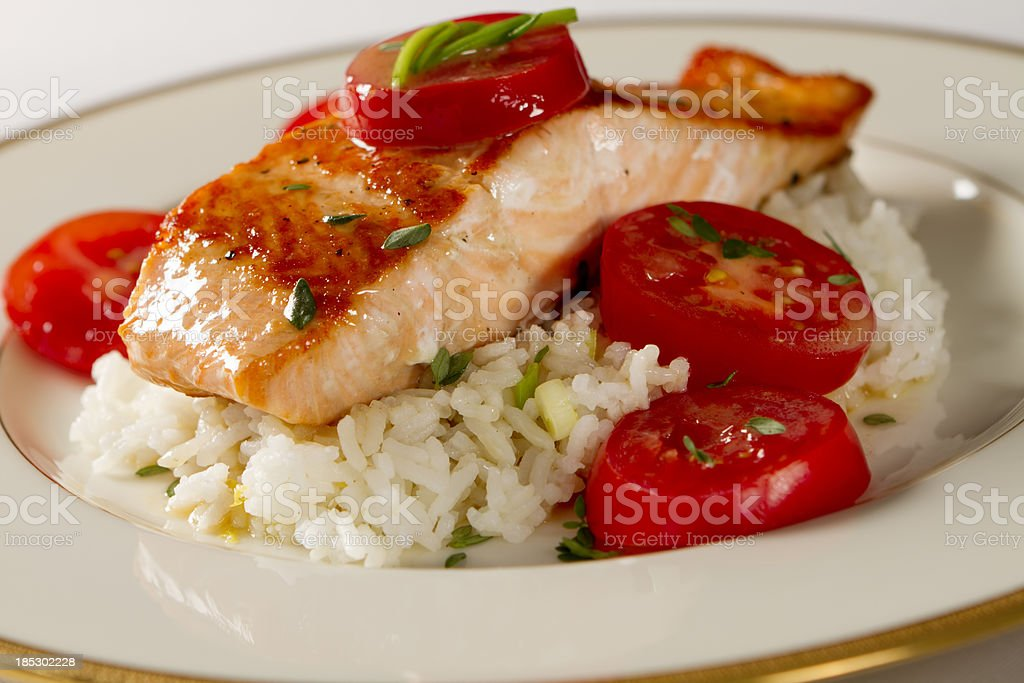 Salmon Fillet with Buerre Blanc Sauce stock photo