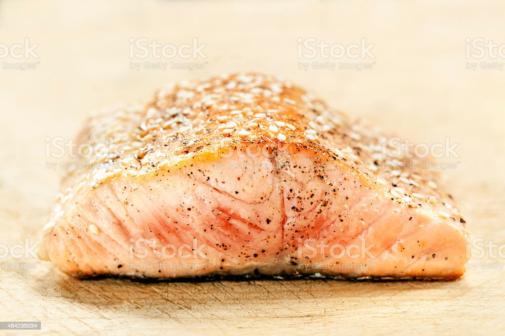 Salmon Fillet with Sesame Seeds stock photo