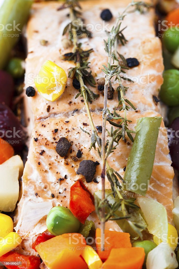 Salmon fillet with vegetables and thyme royalty-free stock photo