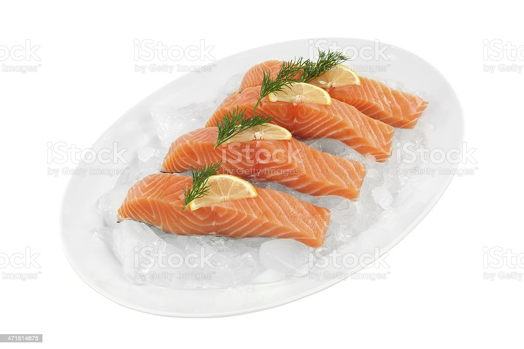Salmon fillets; Clipping Path royalty-free stock photo
