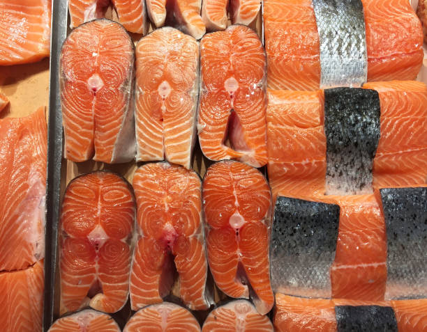 Salmon fillets Salmon fillets atlantic salmon stock pictures, royalty-free photos & images
