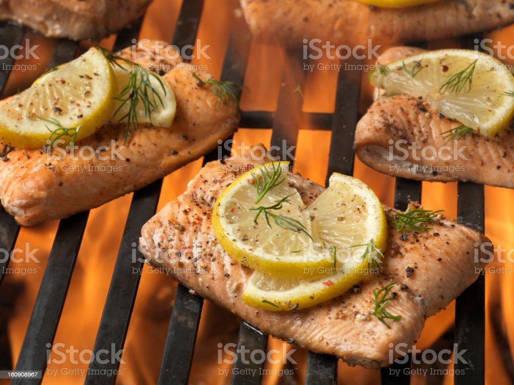 BBQ Salmon Fillets royalty-free stock photo