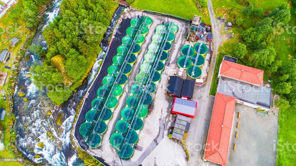 Salmon fish farm. Norway royalty-free stock photo