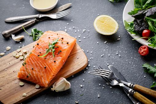 Salmon fish on the cutting board