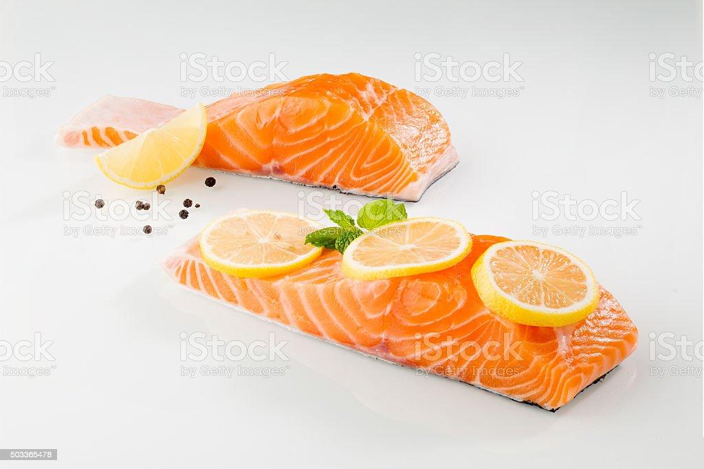 Salmon fish on wihte background stock photo